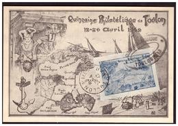 Quinzaine Philatélique De TOULON Du 12 Au 26 Avril 1942  Avec Vignette - Poststempel (Briefe)