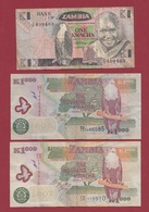 Zambie 3 Billets Dans L 'état Lot N °5---(50) - Zambia