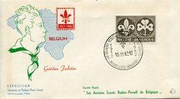 THEMATIQUE SCOUTISME BELGIQUE 1962 FDC-BRUSSEL GOLDEN JUBLILEE - Scouting