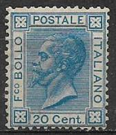 REGNO D'ITALIA   1867 EFFIGE DI V.EMANUELE II SASSONE T 26 MLH XF SENZA GOMMA COLORE AZZURRO+++++++++ - 1861-78 Victor Emmanuel II.