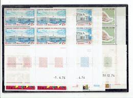AFARS ET ISSAS - BLOCS DE 4 COINS DATES - TP N°390/392 - 394/396 - XX - 1974 - Afar- Und Issa-Territorium (1967-1977)