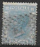 REGNO D'ITALIA   1867 EFFIGE DI V.EMANUELE II SASSONE L 26 USATO VF AZZURRO - 1861-78 Victor Emmanuel II.