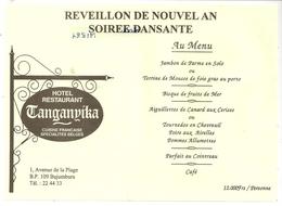 MENU - Hôtel-Restaurant Tanganyika à Bujumbura. Réveillon De Nouval An, Soirée Dansante. - Menus