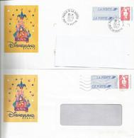 """Lot De 2 Prêt à Poster - PAP """" DISNEYLAND PARIS 5 ANS 1996 """" Oblitérés (Rep. Briat) - Postwaardestukken"""