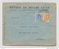 LETTRE REVISTA DE BELLAS ARTES MADRID VERS PARIS FRANCE - 2 Scans - - 1875-1882 Königreich: Alphonse XII.