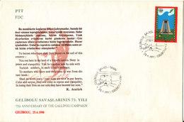 Turkey FDC 25-4-1990 75th Anniversary Of The Gallipoli Campaign With Cachet - 1921-... Republic