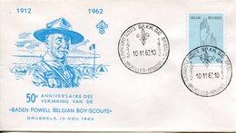 THEMATIQUE SCOUTISME BELGIQUE 1962 FDC- BADEN POWELL - Scouting