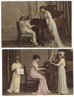 Leçon De Musique - Piano - Violon - Enfants - 2 Cartes - Enfants