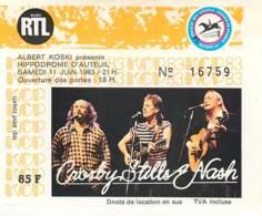 Ticket De Concert - Crosby Stills And Nash - 11 Juin 1983 - Hippodrome D'Auteuil - Biglietti Per Concerti