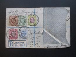 GB Kolonie Uganda Beleg Mit 5 Marken Stempel Mombasa Registered Mail Mombasa British East Africa Per SS Prinzregent Luit - Kenya, Uganda & Tanganyika
