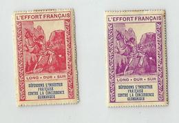 1916  L'EFFORT NATIONAL FRANÇAIS ANTI-GERMANIQUE, 2 VIGNETTES - Erinnophilie