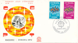 French Andorra FDC 29-4-1972 EUROPA CEPT Complete Set Of 2 With Cachet - Europa-CEPT