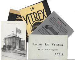 """PUB Publicité- Société LE VITREX Paris -""""Remplace Le Verre"""" -Lot De 5 Documents Publicitaires = Voir Descriptif - Advertising"""