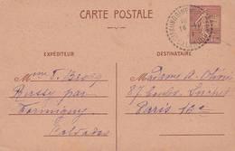 Entier Postal  Semeuse Lignée à 1f20 - Posté En 1944 (cachet Perlé Ste Honorine Des Pertes Calvados ) - Scan Recto-verso - Ganzsachen
