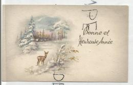 Mignonnette De Vœux. Biche Dans Une Clairière Et Village Enneigé. - Nouvel An