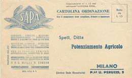 7-SAPA SEMENTI-CONCIMI-MILANO CARTOLINA ORDINAZIONE ANNI 50 - Culture