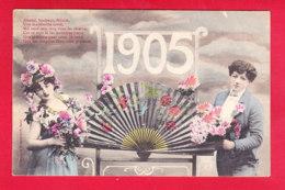 Nouvel An-364D04  Année 1905, Bergeret, Un Couple Devant Un éventail, Cpa - Neujahr