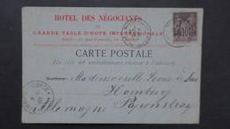 Monaco Type Sage Sur Carte Commerciale Hotel Des Négociants Monte Carlo 1885 Pour L' Allemagne TB - Lettres & Documents