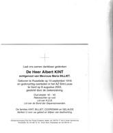 RIJKSWACHTER A.KINT °RUISELEDE 1918 +GENT 2003 (M.BILLET) - Images Religieuses