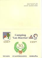 """PUBLICITE - Camping """"Las Huertas"""" Nules (Castellon) Espagne. - Non Classés"""