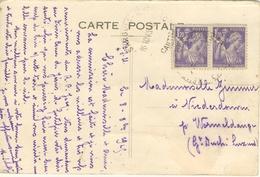 PAIRE 1.20F IRIS TARIF 2.40F ETRANGER CARTE POSTALE + DE 5 MOTS 10/10/45 - Marcophilie (Lettres)