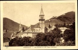 Cp Ribeauvillé Rappoltsweiler Elsaß Elsass Haut Rhin, Eglises Et Les Trois Chateaux - Other Municipalities