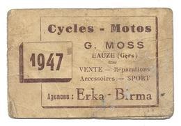 G MOSS EAUZE GERS CYCLES MOTOS 1947 ERKA BIRMA - TASTET - CALENDRIER - Calendari