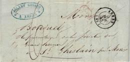 Pli De Arras => St-Ghislain (Grand Hornu). 4/11/1845. Marque De Passage France Par Quiévrain. Société Allart Godart - 1830-1849 (Belgique Indépendante)