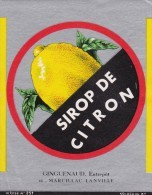 ETIQUETTE NEUVE SIROP CITRON TYPE I GUIGUENAUD Marcillac-Lanville 16 NOLASQUE - Labels