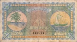 Maldives 1 Rupee, P-2a (1947) - Very Good - Maldiven
