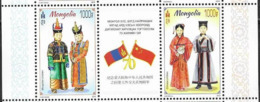MONGOLIA, 2019, MNH, DIPLOMATIC RELATIONS WITH CHINA, COSTUMES, SHEETLET 2v+ TAB - Costumes