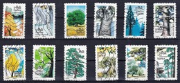 FRANCE AUTOADHESIFS OBLITERES-SERIE COMPLETE DE 12 TIMBRES-N° YVERT 1605 A 1616-ANNEE 2018-CARNET ARBRES 2018 - Luchtpost