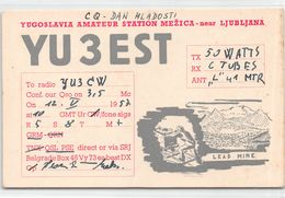 QSL Cards - YU 3 Est , Yugoslavia, Slovenije - Ljudljana - Radio Amatoriale