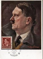 49309 Germany Reich Gen.gouv (poland) Maximum Hitler Postmark First Day  20.4.1944 Krakau,painting Of Willy Exner - Allemagne