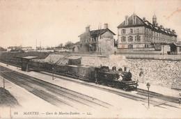 78 Mantes Gare De Mantes Station Cpa Carte Animée Train Locomotive à Vapeur 1918 - Mantes La Jolie