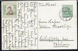 "Allemagne - Correspondance De Weimar Sur CPA ""Goethes Arbeitszimmer"" Cachet De Weimar 15-4-1911 + Vignette - - Germany"