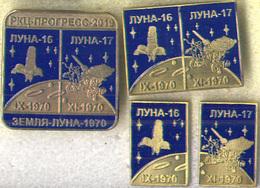 "450-8 Space Russian Pins Set. Luna-16,-17 Lunokhod (4pins) Soviet Moon Program Space Center ""Progress"" Samara 2019 - Space"