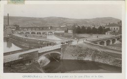 Givors (69) - Vues Des 4 Ponts Sur La Gare D'Eau Et Le Gier, Carte Brillante - Givors