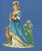 Très Joli Chromo Decoupis Jeune Femme  Robe Princesse Chien Fleurs 14,5 Cm X 10 Cm - Other