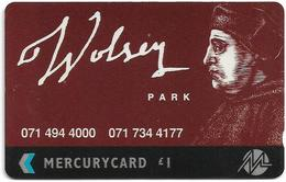 UK (Mercury) - Wolsey Park - 20MERB (on Silver Strip) - MER181B - 4.112ex, Used - [ 4] Mercury Communications & Paytelco