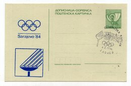 1984 YUGOSLAVIA,SARAJEVO,4 DIN. STATIONERY CARD,MINT,WINTER OLYMPIC GAMES,SPECIAL CANCELATION ZAGREB 04.02.1984. - Postal Stationery