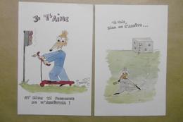 Humour Amour Animaux RAT Souris Mouse En Trottinette Et Rat Prisonnier En Cavale Prison - Lot De 2 Cartes - Humor