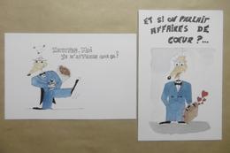 """Humour Amour Animaux RAT Souris Mouse """"Invitation - Affaires De Cœur"""" - Lot De 2 Cartes - Humor"""