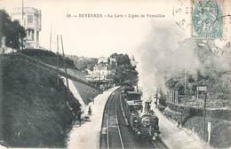 92 Suresnes La Gare Ligne De Versailles Train Locomotive à Vapeur Cpa Carte Animée - Suresnes