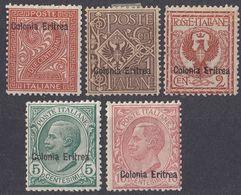 ERITREA - Lotto Di 5 Valori Assortiti Nuovi MH Come Da Immagine: Yvert 2, 19, 20, 31 E 32. - Eritrea