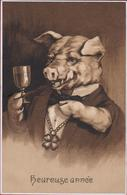 Heureuse Annee Happy New Year Cochon Pig Varken Champagne Wine Du Vin  Old Postcard - Varkens