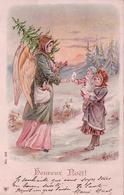 Heureux Noël, Ange, Sapin Et Enfants, Litho (243) - Autres