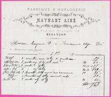Facture MAYNANT AINE Fabrique D'Horlogerie Rue Des Granges 25 Besançon Doubs - 1800 – 1899