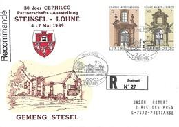 Luxembourg  -  FDC    9.5.1989   Lettre Recommandé  STEINSEL - LÖHNE  Gemeng Steinsel - FDC