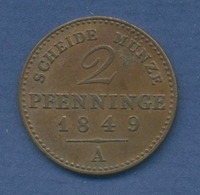 Preußen 2 Pfennige 1849 A, König Friedrich Wilhelm IV., Sehr Schön (m2190) - [ 1] …-1871 : Stati Tedeschi
